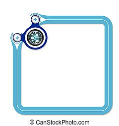 Blue frame for your text and globe symbol and share icon