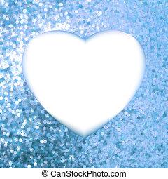 Blue frame in the shape of heart. EPS 8