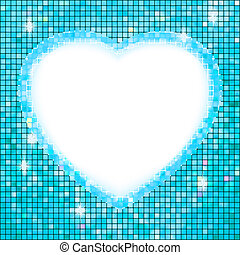 Blue frame in the shape of heart. EPS 8