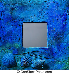 Blue frame - Painted blue frame with decorative shells and...