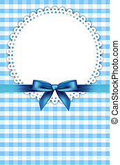blue frame with napkin and ribbon - Vector blue frame with...