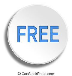 Blue free in round white button with shadow