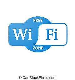 Blue free wifi zone signboard illustration