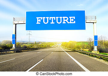 Blue freeway sign over the road on sunny day with word Future on it