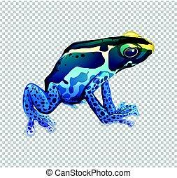 Blue frog on transparent background