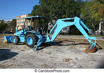 Blue Front End Loader - Bright blue heavy construction...