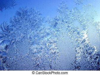 Blue frost - Frozen ice pattern on glass