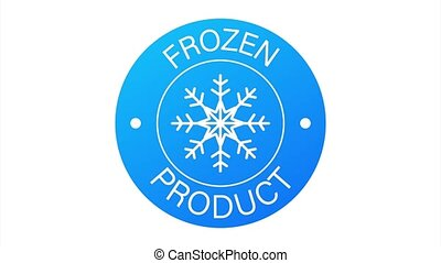 Blue frozen product on white background. Food logo. stock illustration