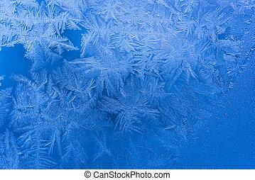 Blue frozen tracery - Abstract ice pattern on winter window