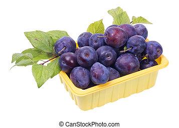 Blue fruits berries in box