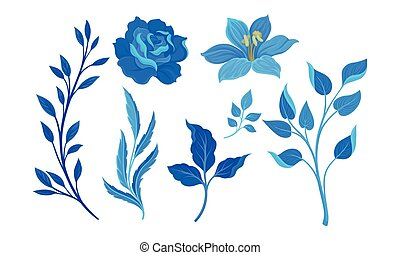 Blue Full-blown Flowers and Twigs Decorative Elements Vector...