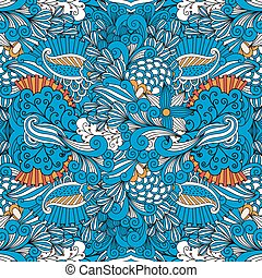 Blue full frame seamless intricate background composed of lovely floral patterns and geometric designs