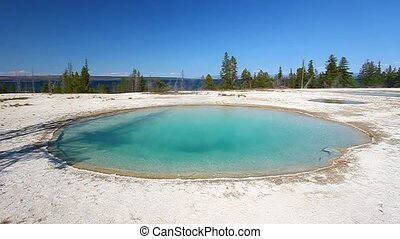 Blue Funnel Spring near Yellowstone Lake in Wyoming.