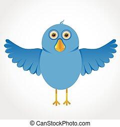 Blue funny cartoon bird