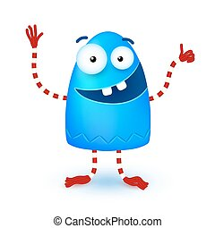 Blue funny cute little smiling monster