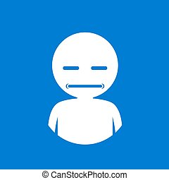 blue funny sour face icon draw - Creative design of funny...