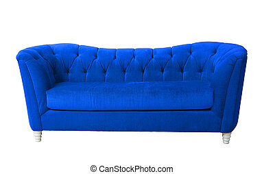 Blue furniture isolated with clipping path