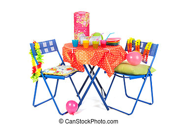Blue furniture with party drinks - Blue furniture with...