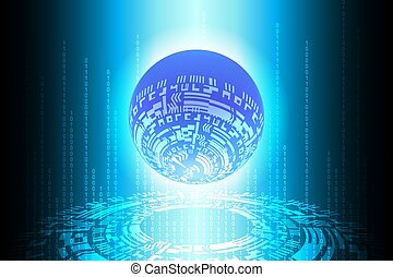 Blue Future Binary Globe Technology Background