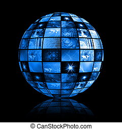 Blue Futuristic Digital TV Background - Blue Futuristic...