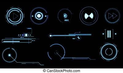 Blue Futuristic Interface Elements. - Three screens...