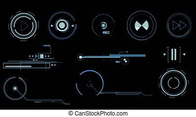 Blue Futuristic Interface Elements - Three screens...