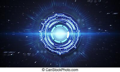 blue futuristic techno circular shape