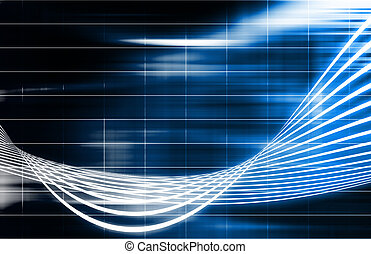 Blue Futuristic Technology Background with Wild Lines