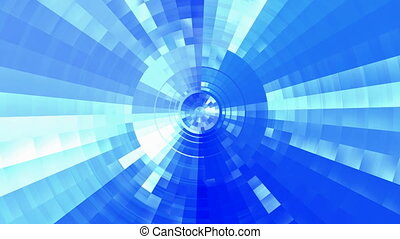 Blue futuristic tunnel - Motion into a beautiful reflecting...