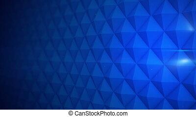 Blue futuristic wall waving. Seamless loop 3D render animation
