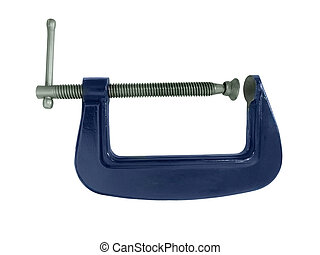 G clamp - Blue G clamp isolated on a white background