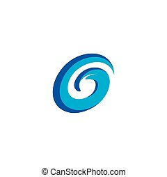 blue g logo letter water wave icon