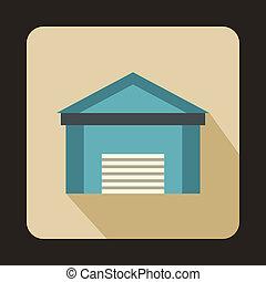 Blue garage icon, flat style