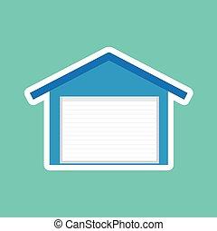 blue garage with roller shutter door