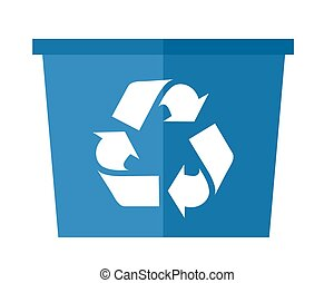 Blue garbabe can - A blue garbage can with recycle symbol. A...