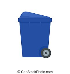 Blue garbage box icon, flat style