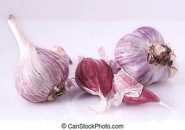 garlic - blue garlic laying on white background