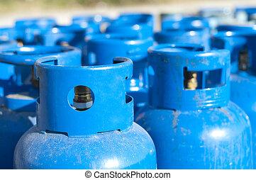 Blue gas balloons. Propane-butane