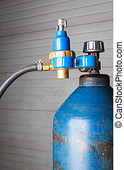 gas cylinder - blue gas cylinder close up