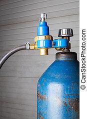 gas cylinder - blue gas cylinder close up