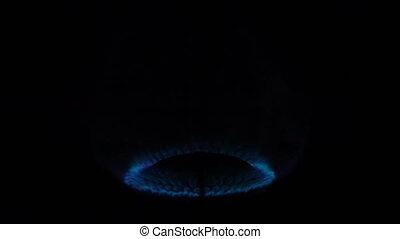 blue gas fire burns