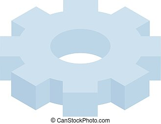 Blue gear icon, isometric style