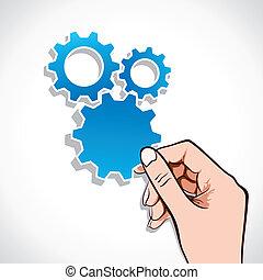 blue gear sticker in hand