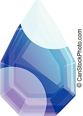 Blue gem icon, cartoon style