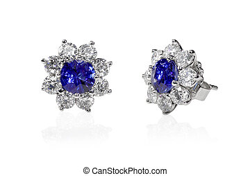 Blue Gemstone and diamond earrings