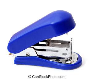 blue generic stapler on white background