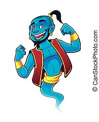 Blue Genie - Blue genie being raised and clenched fist...