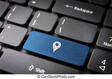 Blue geo location keyboard key, technology background