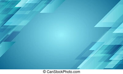 Blue geometric abstract tech motion design. Seamless...