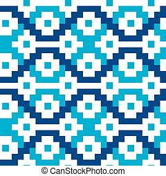 Blue geometric blocks in a seamless pattern